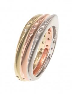 gooix 943-06737-540 Damen Ring Sterling-Silber Tricolor weiß 54 (17.2)