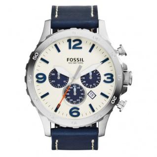 Fossil NATE Chronograph Uhr Herrenuhr LederDatum blau JR1480