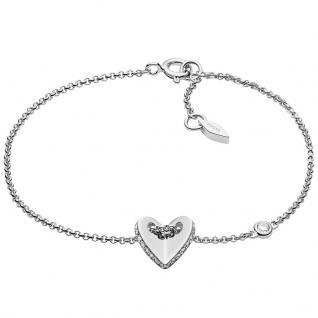 Fossil JFS00424040 Damen Armband Herz Sterling-Silber 925 Weiß 18, 5 cm