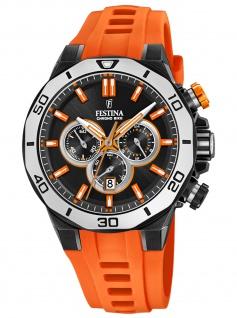 Festina F20450/2 Chronograph Uhr Herrenuhr Kautschuk Datum orange