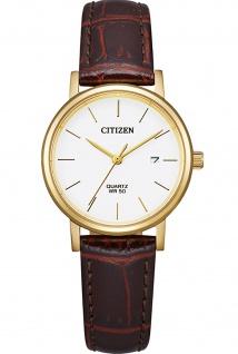 Citizen EU6092-08A Uhr Damenuhr Lederarmband Datum braun