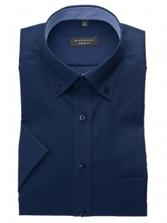 Eterna Herren Hemd Kurzarm Comfort Fit 3215/19/K144 Blau XL/44
