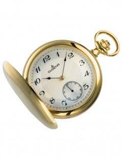 Dugena 4460501 Taschenuhr Savonette mit Kette Uhr Herrenuhr weiss