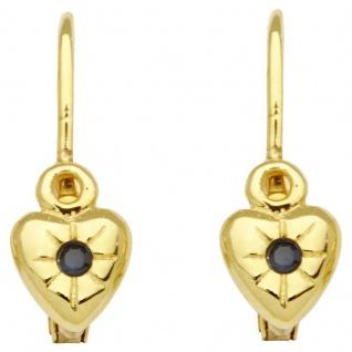Basic Gold KI28 Mädchen Ohrringe Herz 14 Karat (585) Gelbgold Blau