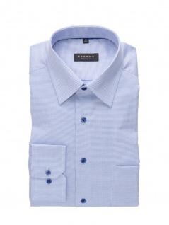 Eterna Herren Hemd Langarm Comfort Fit Natté strukturiert Blau XL/43