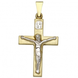 Basic Gold K30 Damen Anhänger Kreuz 14 Karat (585) Bicolor
