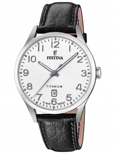 Festina F20467/1 Uhr Herrenuhr Lederarmband Datum schwarz