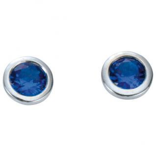 Basic Silber 01.1097B Damen Ohrstecker Silber Zirkonia blau