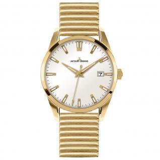 Jacques Lemans 1-1769M Uhr Herrenuhr Edelstahl Datum gold