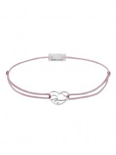 MOMENTOSS 21202034 Damen Armband Filo Herzen Silber rosa-braun 19 cm