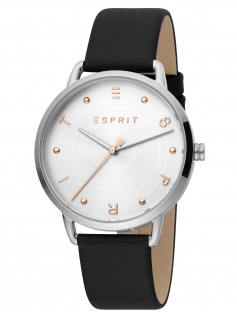 Esprit ES1L173L0015 Fun Silver Black Uhr Damenuhr Lederarmband schwarz