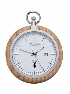 Waidzeit TE01 Alpin Eiche Taschenuhr Uhr Herrenuhr Datum Weiss