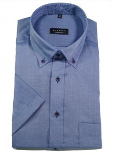 Eterna Herren Hemd Kurzarm Comfort Fit Oxford 8932/15/K144 Blau XL/43
