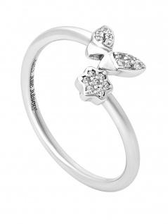 Julie Julsen JJFRG0418.1 Damen Ring Schmetterling Feelings Silber Weiß