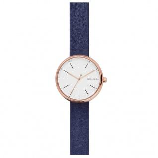 Skagen SKW2592 SIGNATUR Uhr Damenuhr Lederarmband Blau