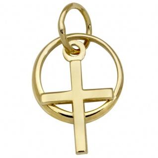 Basic Gold TG31 Kinder Anhänger Taufring mit Kreuz 14 Karat (585) Gold