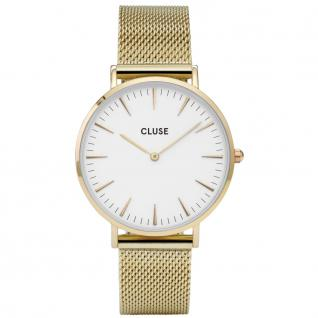 CLUSE CL18109 La Bohéme Mesh Gold Strap white Uhr Damenuhr gold
