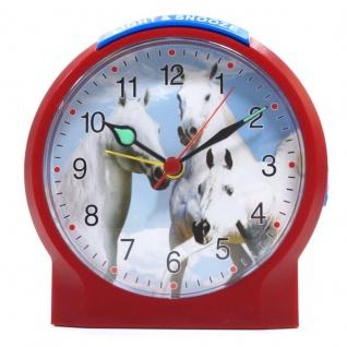 Atlanta 1189-1 Wecker Pferde Analog Alarm weiss rot blau