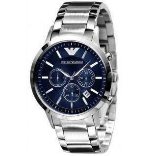 Emporio Armani AR2448 Herrenuhr Edelstahl 50m Analog Chronograph Datum blau