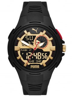 PUMA P5078 Uhr Herrenuhr Kautschuk Datum Alarm schwarz