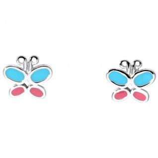 Basic Silber SK16 Kinder Ohrschmuck Schmetterling Silber rosa türkis