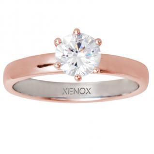 XENOX XS7356R Damen Ring Silver Circle rosé Rose weiß 54 (17.2)