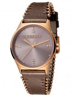 Esprit ES1L032L0045 Drops 01 Pink D.Brown Damenuhr Lederarmband Braun
