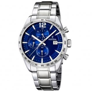 FESTINA F16759/3 Chronograph Uhr Herrenuhr Chrono Datum silber