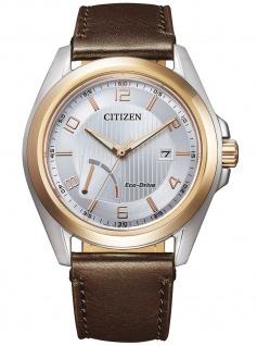 Citizen AW7056-11A Eco Drive Uhr Herrenuhr Lederarmband Datum braun