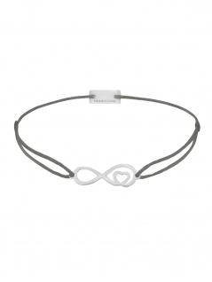 MOMENTOSS 21203829 Armband Filo Infinity-Herz Silber dunkelgrau 25 cm - Vorschau