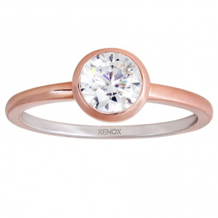 XENOX XS7280R Damen Ring Silver Circle rosé Rose weiß 54 (17.2)