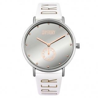 Superdry SYL175WS Oxford Uhr Damenuhr Lederarmband Weiß
