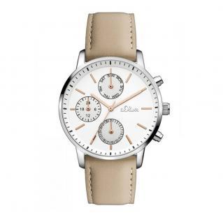 s.Oliver SO-3242-LM Uhr Damenuhr Lederarmband Datum Beige