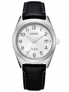 Citizen FE6150-18A Eco Drive Uhr Damenuhr Lederarmband Datum schwarz
