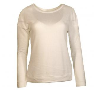 Only Damen Pullover Spitze Pulli LONA Lace Zip Sweat Weiß Gr. L
