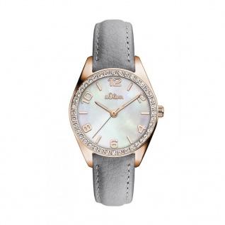 s.Oliver SO-3268-LQ Uhr Damenuhr Lederarmband Grau