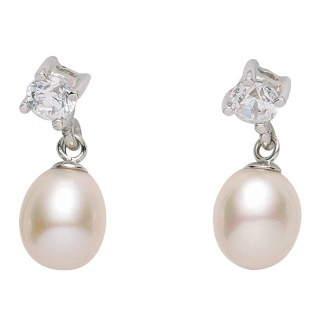 Basic Silber 01.1154 Damen Ohrringe Silber Zirkonia synth. Perle