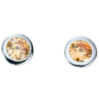 Basic Silber 01.1097CH Damen Ohrstecker Silber Zirkonia champagner
