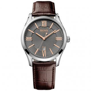 Hugo Boss 1513041 Uhr Herrenuhr Lederarmband Datum braun rosé