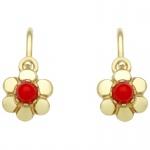 Basic Gold KI62 Mädchen Ohrringe Blume 14 Karat (585) Gelbgold Rot