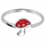 Basic Silber 53.KS104 Mädchen Ring Pilz Silber 48 (15.3) rot weiß