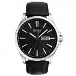 Hugo Boss 1513464 The JAMES Uhr Herrenuhr Lederarmband Datum Schwarz