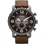 Fossil JR1424 Nate Chronograph Uhr Herrenuhr Leder 50m Datum braun