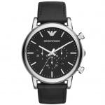 Emporio Armani LUIGI Chronograph Uhr Herrenuhr Lederarmband schwarz
