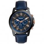 Fossil GRANT Chronograph Uhr Herrenuhr Leder blau schwarz