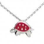 Basic Silber 21.KS105 Mädchen Collier Schildkröte Silber 36 cm rot