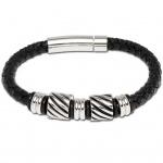 GOOIX 414-05429 Herren Armband Edelstahl Silber Schwarz 21 cm