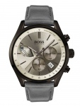 Hugo Boss 1513603 GRAND Chronograph Uhr Herrenuhr Leder Datum Grau
