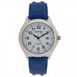 Madison MAD-002 Uhr Herrenuhr Lederarmband Datum blau