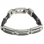 GOOIX 414-06287 Herren Armband Edelstahl Silber Schwarz 21 cm